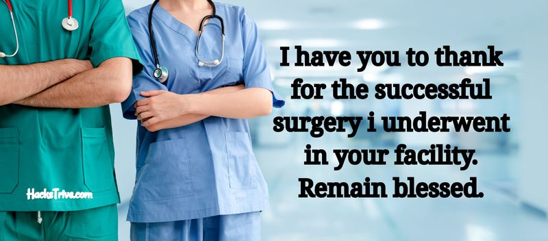 Thank You Notes To Doctors And Nurses After Surgery